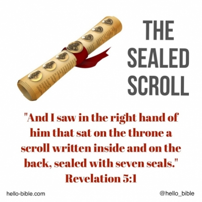 31. A scroll, sealed with seven seals * Revelation 5:1